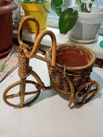 """Кашпо """"велосипед"""" из лозы"""