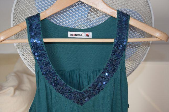 Monnari Letnia bluzka top cekiny zielona szamaragdowa S/M