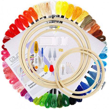 Набор для вышивания c пяльцами 50 ниток, инструменты и ткань