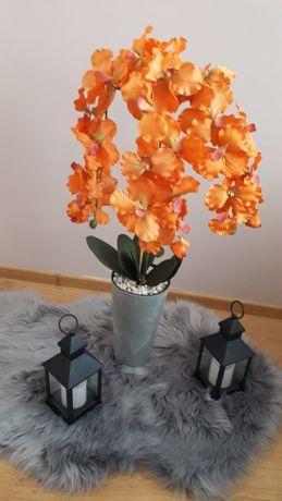 Sztuczny kwiat storczyk trzy pędowy pomarańcz