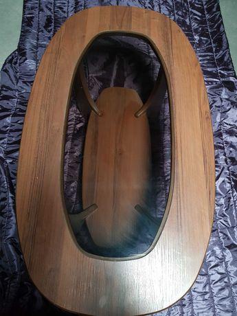 Ława/stolik drewniana ze szkłem