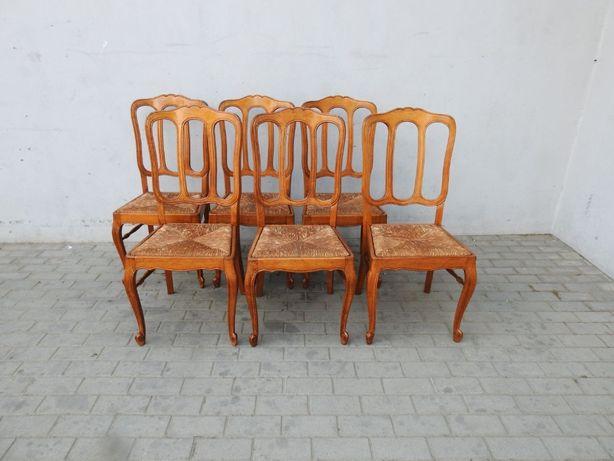Rzeźbiony komplet 6 krzeseł ludwikowskich 229