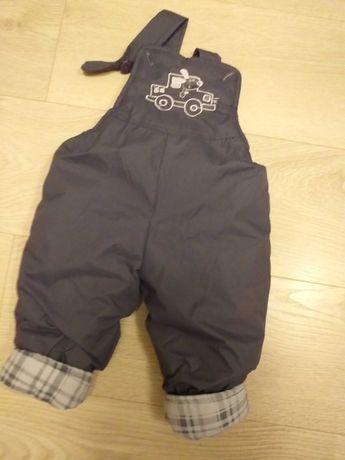 Spodnie zimowe na szelkach r. 74