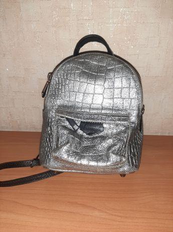 Рюкзак сумка через плечо натуральная кожа Италия