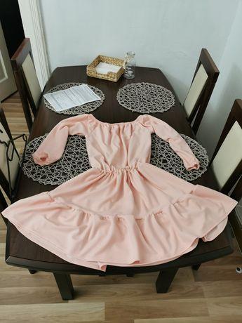 Sukienka Pudrowy Róż M/L