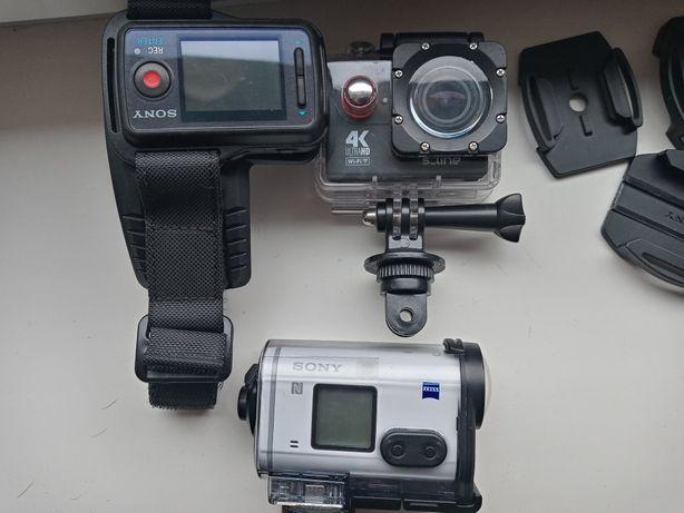 2x Kamera sportowa Sony i s line akcesoria na motor