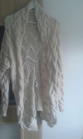 Śliczny sweter kardigan S M gruby warkocz 36 38 nowy