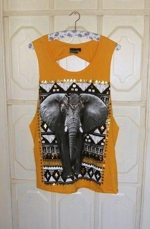 Nowa bluzka ze słoniem Bon Prix 40,L / 42,XL india azeckie wzory