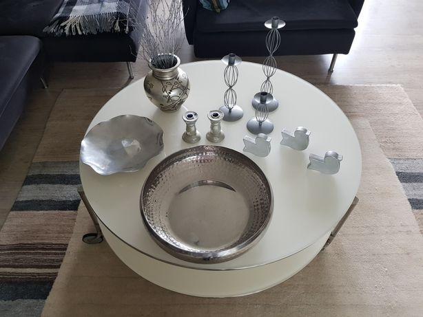 Dodatki akcesoria srebrne misa świeczniki wazon