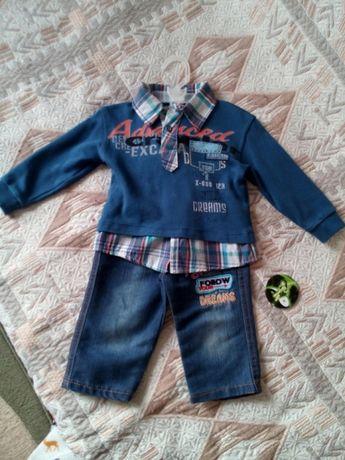 Костюм моднячий 74-80-86 12-18 месяцев 1-2 года джинсы кофта