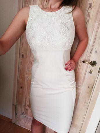 Ołówkowa kremowa sukienka rozmiar M