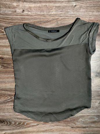 Bluzka bluzeczka damska lekka satyna oliwkowa khaki 36 38 S M