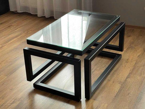 NOWA Industrialna ŁAWA LOFTOWA, stolik, stół, szkło hartowane 100x60cm