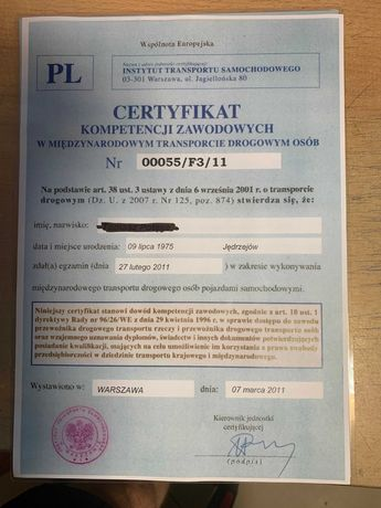 Certyfikat  Kompetencji  Zawodowych   -    Przewóz  OSÓB   -  F-VAT