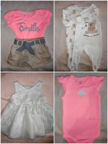 Детские вещи (от 0 до 1г) платья, песочники, штаны, кофты, человечки..