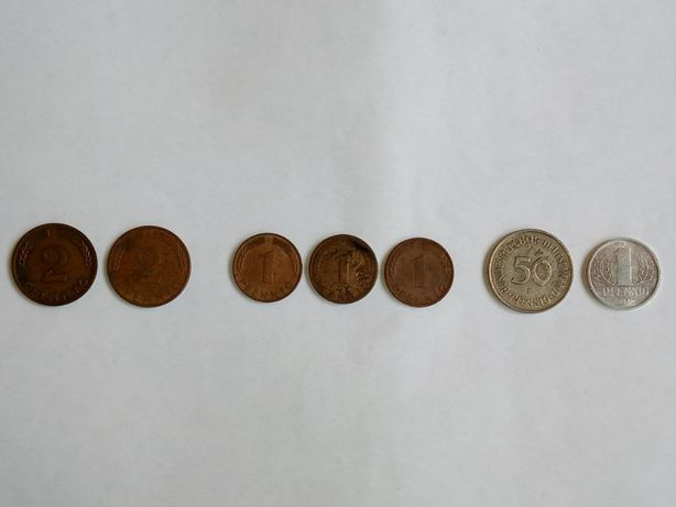 Монеты 1, 2 и 50 пфеннига Германия