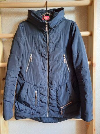 Куртка женская синяя демисезонная, курточка, парка, пальто, дутик