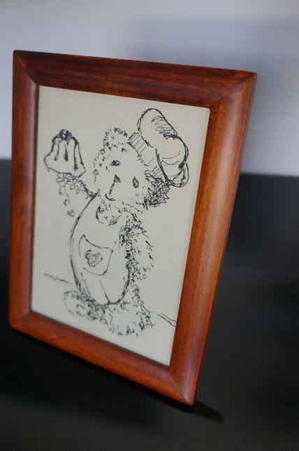 Obrazek ramka brązowa z misiem do pokoju dziecka