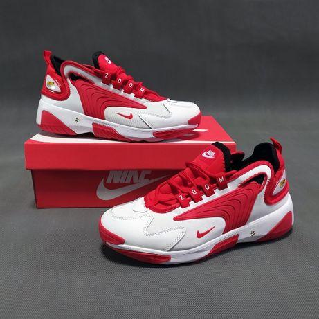 259 Nіke Zoom 2K белые с красным кроссовки найк зум кросовки кеды