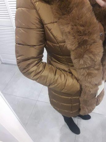 Kurtka zimowa damska dwustronna karmelowa z futerkiem