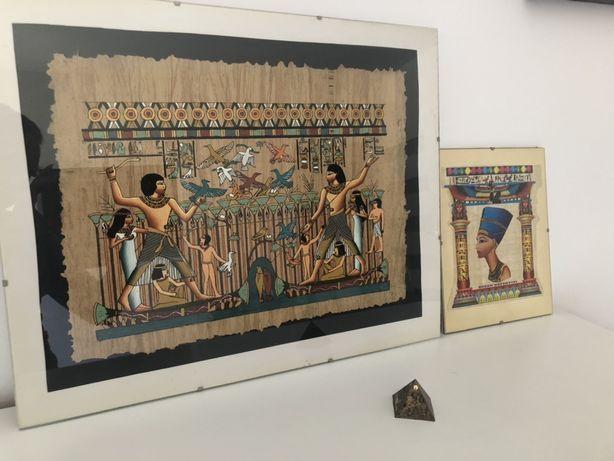 Papirus oryginalny Egipt Oprawione w antyramy zestaw 2szt piramida