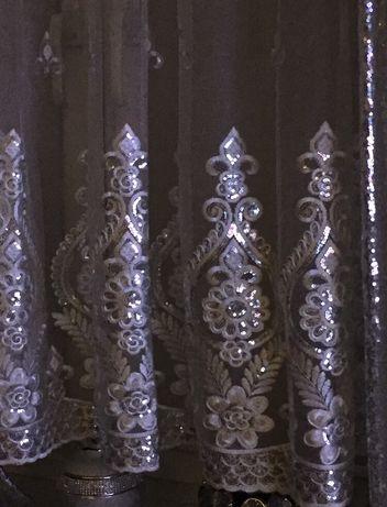 Piękna firana biało srebrna z cekinami haftowana błyszcząca glamour