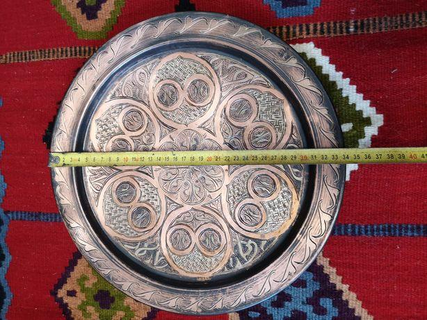 Duży talerz dekoracyjny miedź mosiądz vintage maroko