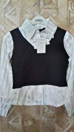 Школьная блузка-двойка (рост-130см)