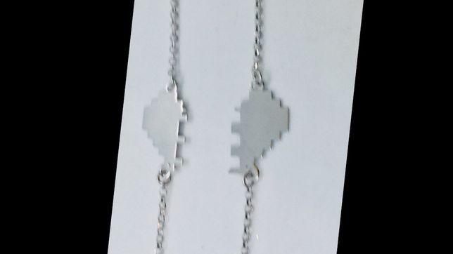 Италия серебро Парные серебряные браслеты половинка сердца