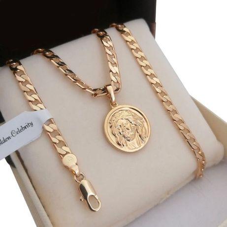 Złoty łańcuszek pancerka 55cm + Medalik z Jezusem 18 karatów GWARANCJA