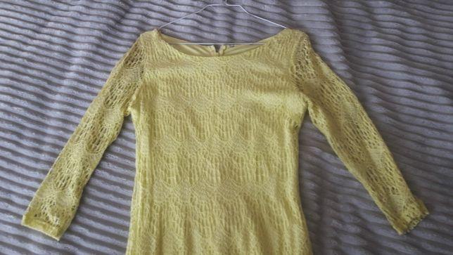 Sukienka krótka dopasowana koronka żółta rękaw 3/4 rozm 38