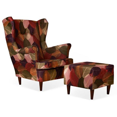 Fotel Uszak Ari z podnóżkiem motyw kolorowych liści stonowane barwy