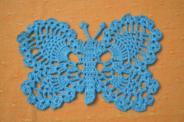 Nowy motyl niebieski kordonek rękodzieło szydełko 10x14 tanio
