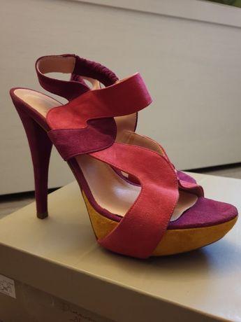 Szpilki sandały zamszowe kolorowe 40