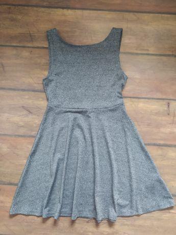 Sukienka divided H&M odkryte plecy szara szary melanż S