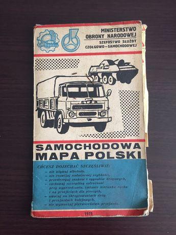 Samochodowa mapa polski 1975 rok kolekcja stara mapa kolekcjonerska