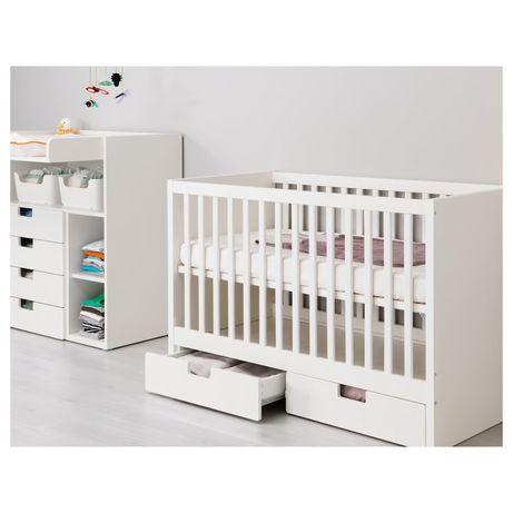 STUVA MÅLAD Nowe łóżeczko z szufladami IKEA, biały, 60x120 cm