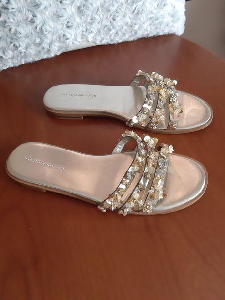 Klapki japonki buty Zara woman złote korale ozdoby 39 slim model kaza