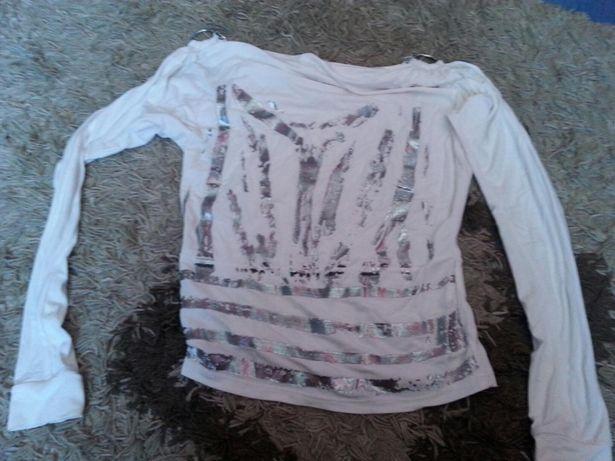 Bluzka damska uniwersalna biało srebrna m l xl