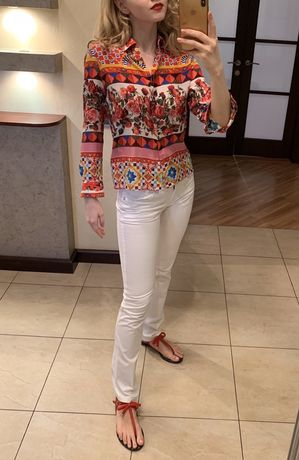 белые летние брюки джинсы скинни Roccobarocco, оригинал, Италия