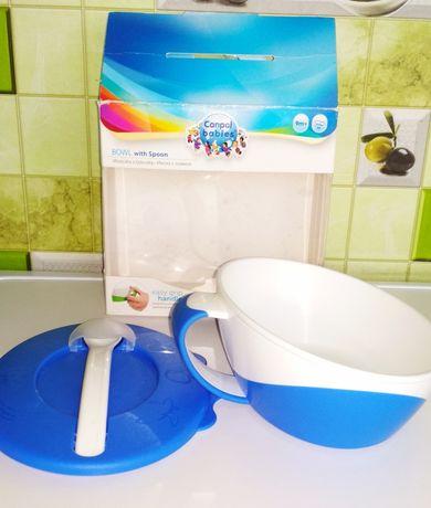 Фирменная тарелочка с ложкой для кормления малышей