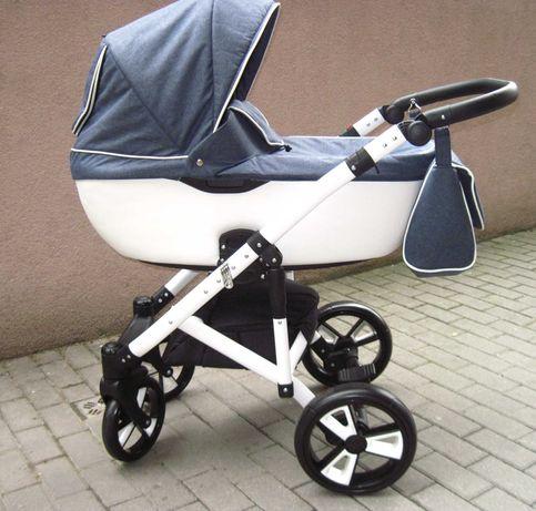 Wózek nieużywany 3w1 Gusio jeansowy , koła żelowe