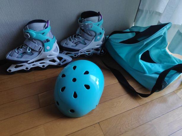 Conjunto patins capacete e saco