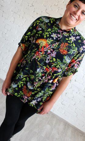 Piękna koszulowa tunika w kwiatowe wzory, ciemna r.46