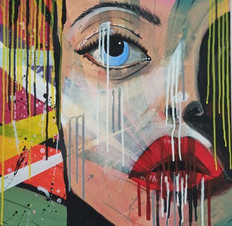 Картина на холсте с подрамником в стиле поп арт, лицо девушки 50х50