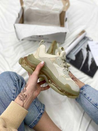 Adidasy Balenciaga Triple S Transparent Crystal kremowe buty