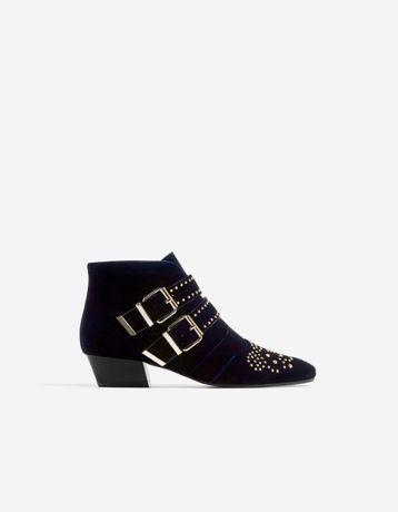Бархатные ботинки sradivarius, велюровые ботильоны под chloe susanna