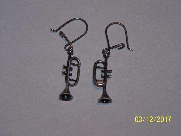 Kolczyki srebro Trąbki i Saksofony