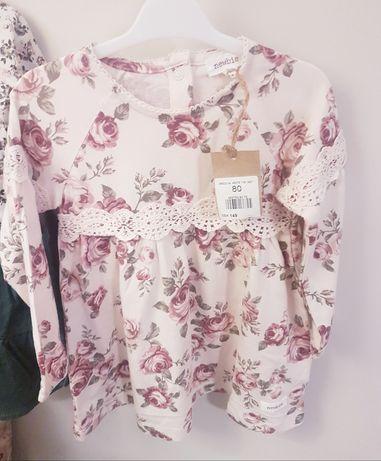 Nowa piękna sukienka newbie stare róże 80cm 9-12m