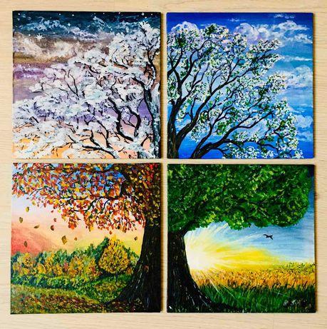 "Модульная картина (4 части) Гуашь Живопись ""Дерево жизни"""